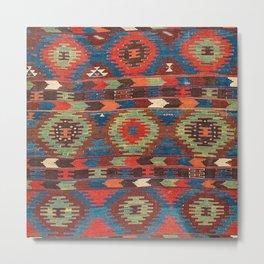 Tuscan Shapes I // 19th Century Southwestern Colorful Red Blue Orange Green Brown Ornate Rug Pattern Metal Print