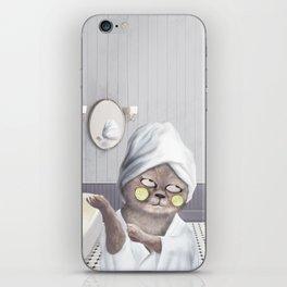 Funny Cat In Bathroom iPhone Skin