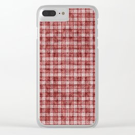 Rusty Red Gingham Faux Terry Toweling Clear iPhone Case