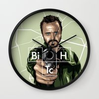jesse pinkman Wall Clocks featuring Jesse Pinkman by Denis O'Sullivan