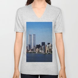 Aerial view of New York City in which the World Trade Center Twin Towers is prominent Unisex V-Neck