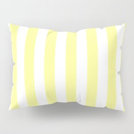 Narrow Vertical Stripes - White and Pastel Yellow Pillow Sham
