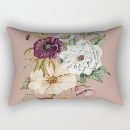 Colorful Wildflower Bouquet on Pink Rectangular Pillow
