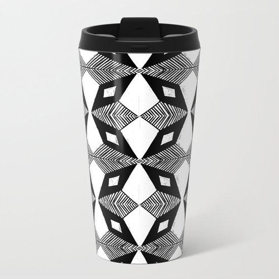 Linocut printmaking pattern black and white scandinavian scandi hipster cute geometric art Metal Travel Mug