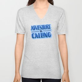Adventure Is Calling Hand Lettered Camping Quote in Blue Unisex V-Neck