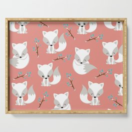 ARCTIC FOXES ON CORAL Serving Tray