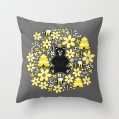 Bear and Bees Throw Pillow