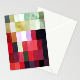 Mixed Color Poinsettias 2 Abstract Rectangles 3 Stationery Cards