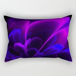 Stylized Half Flower Indigo Rectangular Pillow
