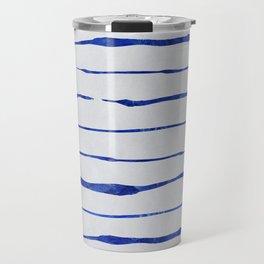Blue Wiggly Stripes Pattern Travel Mug