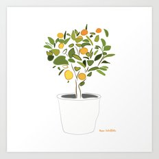 Orange tree in pot Art Print