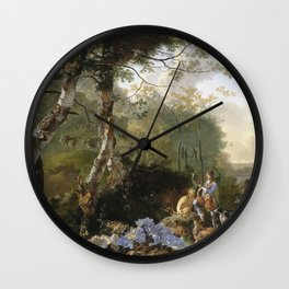 Adam Pynacker - Landscape With Sportsmen And Game Wall Clock