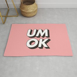 UM OK Pink Black and White Typography Print Funny Poster 3D Type Style Bedroom Decor Home Decor Rug
