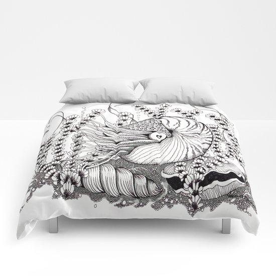 Zentangle Nautilus in the Ocean Illustration Comforters