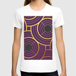 Art Deco Round And Round In Purple T-shirt