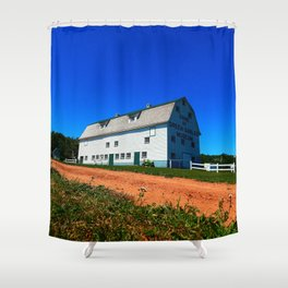 Barn and Red Sands under Blue Skies Shower Curtain