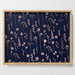 Hand drawn rose gold cute dried pressed flowers illustration navy blue Serving Tray