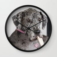 great dane Wall Clocks featuring Great Dane by Deborah Janke