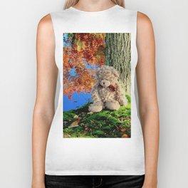 autumn reflections with teddy bear Biker Tank