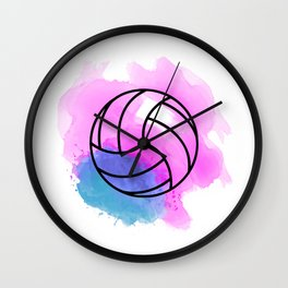 Volleyball Watercolor Wall Clock