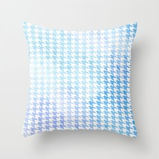 Houndstooth blue watercolor Throw Pillow