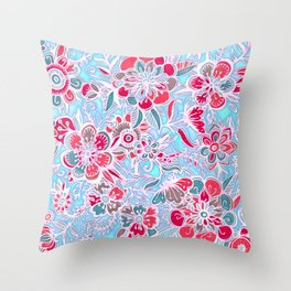 Sweet Spring Floral - cherry red & bright aqua Throw Pillow