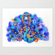 Sapphire and Gold Peacock  Art Print