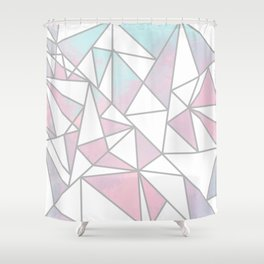 Modern white pink teal watercolor geometrical shapes Shower Curtain