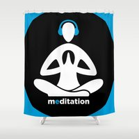 meditation Shower Curtains featuring Meditation by Urban Monk Store