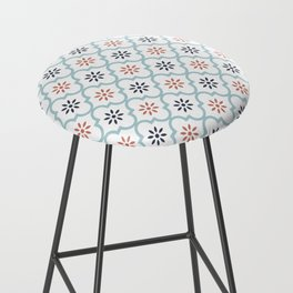 Red & Blue Mute Lattice Bar Stool