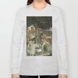 Trials of Moses Painting by Botticelli - Sistine Chapel Long Sleeve T-shirt