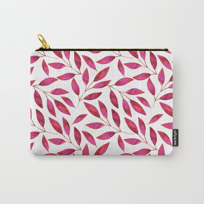 Watercolor Leaf allover Pattern pink red Carry-All Pouch