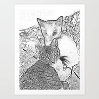 kittens Art Prints featuring Kittens by Michelle