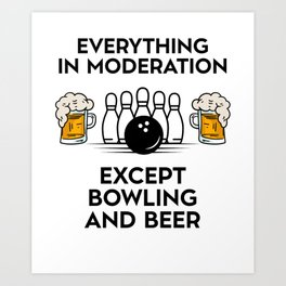 Bowling And Beer Drinking Art Print