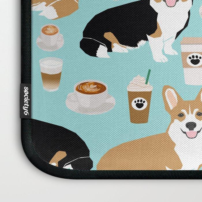 Corgis and coffee pillow phone case corgi gift cute cardigan corgi art Laptop Sleeve