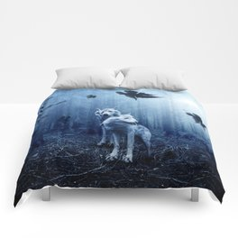 Wolfs in the blue forest Comforters
