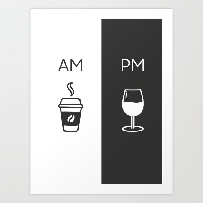 Am Pm - Kitchen poster - Coffee & Wine Decor - Home decor - Wall art - Am  Pm sign - Wine sign Art Print by fingerartprints