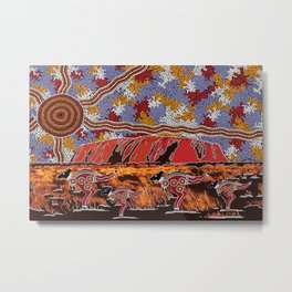 Uluru (Ayers Rock) Authentic Aboriginal Art Metal Print