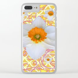 WHITE DAFFODILS DELICATE VIOLET SCROLLS ART  PATTERN Clear iPhone Case