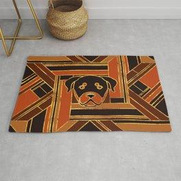 Art Deco Rottweiler dog Rug
