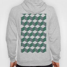 Diamond Repeating Pattern In Quetzal Green and Grey Hoody