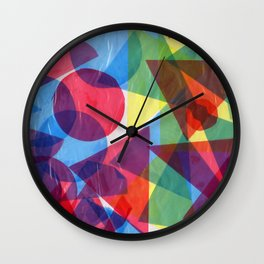 Colorful retro abstract geometric shapes collage hand drawn illustration Wall Clock