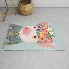 Pig with floral crown, farm animal Rug