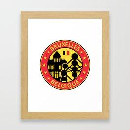 Bruxelles design avec Atomium, Belgique Framed Art Print
