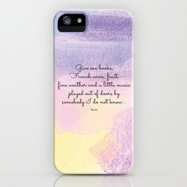 Give me books, French wine - Keats iPhone Case