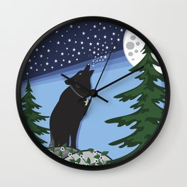 Star Wolf Wall Clock