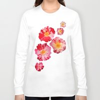 shabby chic Long Sleeve T-shirts featuring Fourth of July Rose Shabby Chic Print by Krystine Kercher