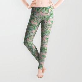 Palm Leaves_Bg Rose Quartz Leggings