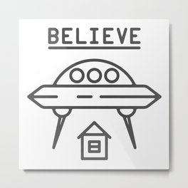 UFO Flying saucer space alien over the house - style Fashion Modern Design Print! Metal Print