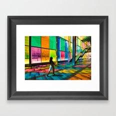 Stepping into a rainbow Framed Art Print